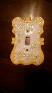 1979 Vintage Ceramic Porcelain Light Switch Plate Cover Hand Painted Flowers