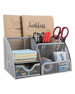 Office Supplies Mesh Desk Accessories Organizer 6 Compartment With Drawer Silver