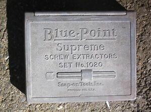 Old Vintage Blue point Snap on Supreme Screw Extractors Set 1020 In Metal Box