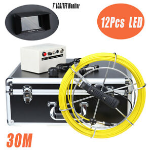 30m Cable Pipe wall Pipeline Sewer Snake Inspection Camera W Dvr 7 Lcd Moniter