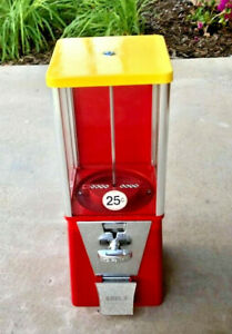 Oak Eagle Red Bulk Candy Vending Machine Cleaned tested 1key Avg Condition