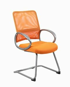 Boss Office Products Mesh Back Guest Chair With Pewter Finish In Orange