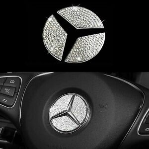 Bling Steering Wheel Logo Diamond Crystal Cover Emblem Sticker Decal For Benz