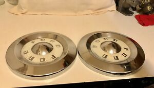 1957 1959 Ford Fairlane Thunderbird Dog Dish Hubcap 10 5 Set Of 2 Original