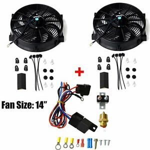 14 12v Universal Electric Cooling Fan 2pcs Bk Thermostat Relay Mounting Kit