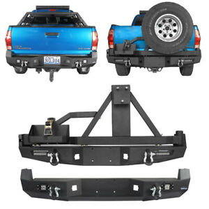 Off Road Replaced Steel Rear Bumper Bar W Led Lights For 05 15 Toyota Tacoma