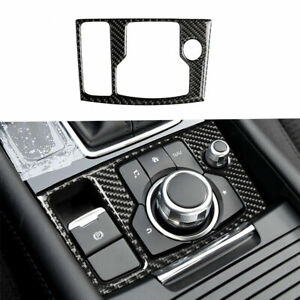 Carbon Fiber Interior Multimedia Button Cover Trim For Mazda 3 Axela 2013 2016