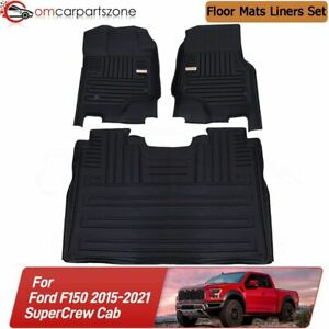 Floor Mats For Ford F150 2015 2021 Super Crew All Weather Tpe Liners 1st 2nd Row