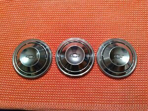 1968 1969 1970 Chevy Copo Dog Dish Hubcaps Nova Chevelle Camaro Three Nice