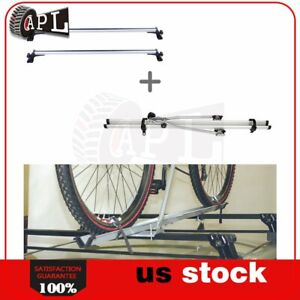 For Universal Chevy Ford Honda Roof Top Rack Cross Bar 1ps Rack Bike Black