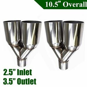 2pcs 2 5 Inlet 3 5 Outlet Stainless Steel Dual Exhaust Tips Straight Cut