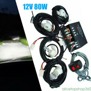 2 Pcs Emergency Strobe White Light Headlight Kit Warning System 4 Hid Bulbs 80w