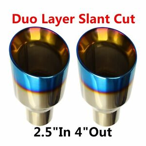 2x 2 5 In 4 Out Stainless Steel Polished Blue Burnt Exhaust Tip Duo Layer Slant