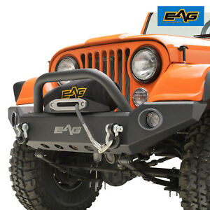 Eag Led Front Bumper With Abs Light Frame D ring Fit For 76 86 Jeep Wrangler Cj