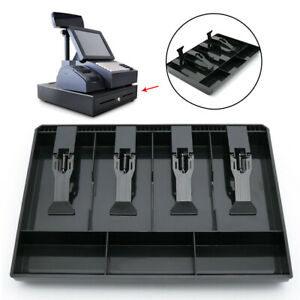 4 Grid Cash Register Tray Coin Drawer With Clip Box Storage Replacement Money