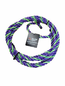 Cattle Bovine Adjustable Halter W Rope Lead Showing Purple And Lime Green Poly