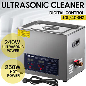 Ultrasonic Cleaner Stainless Steel 10l Industry Heated Heater W Timer Power