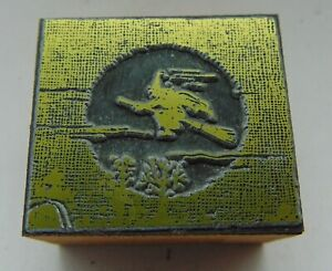 Printing Letterpress Printers Block Witch On A Broom