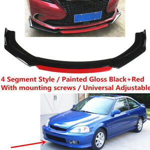 Fit For Honda Civic 99 00 Front Underbody Lip Spoiler Universal Black Red Kit