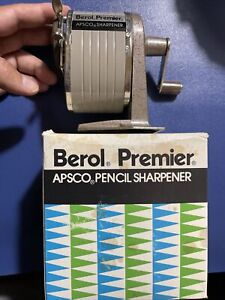 Vintage Berol Apsco Premier Pencil Sharpener Desk Wall Mount Single Hole Euc