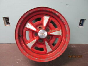 Red 15x6 Pontiac Rally Wheel With Hubcap Looks Original 5 On 4 3 4 Pattern
