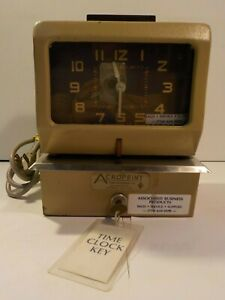 Vintage Acroprint Time Recorder Clock With Key