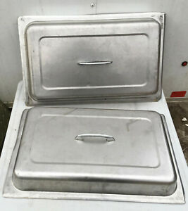 Lot Of 2 Stainless Steel Full Size Steam Table Pan Dome Covers Lids Chafer