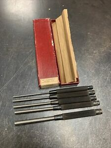 Starrett 5pc Pin Punch Set S248 In Box 1 8 3 16 1 4 5 16 3 8 Made In Usa