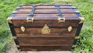 Trunks N Treasures Beautiful Refinished Flat Top Trunk Antique Chest