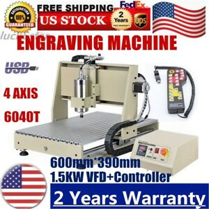 4 Axis Cnc 6040 Router Usb Engraver Wood Drill Milling Machine 1500w Rc