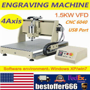 Cnc 6040 4 Axis 1500w Router Engraver Usb Engraving Diy Cutting milling Machine