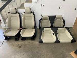 2015 2017 Ford Mustang Gt Vert Cream Leather Front Rear Seats Power Oem