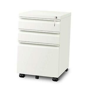 3 Drawer Mobile File Cabinet With Lock Fully Assembled Except Casters White