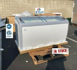 New 60 Chest Freezer Ice Cream Gelato Top Curved Glass Display Dipping Nsf Etl