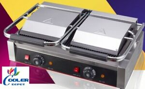 New Double Panini Sandwich Press Grill Groove Surface Restaurant Cafe 110v