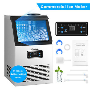 Commercial Ice Maker Ice Cube Making Machine 80kg 176lb 24h Lcd Control Panel Us