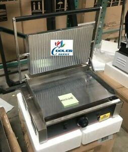 New Panini Grill Sandwich Press Groove Top Smooth Bottom Surface Restaurant 110v