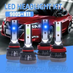 4pcs Combo 9005 h11 8000k Blue Cob Led Headlight Bulb High Low Beam Kit Foglight