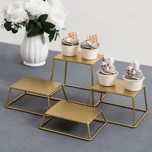 Mygift Set Of 4 Brass Tone Metal Nesting Buffet Table Or Retail Display Risers