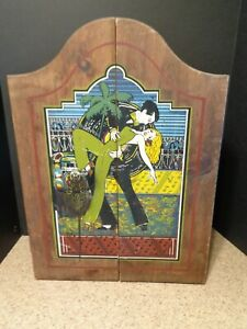 Primitive Wall Hanging Cabinet Cupboard Painted Disco Dancing Couple Unique