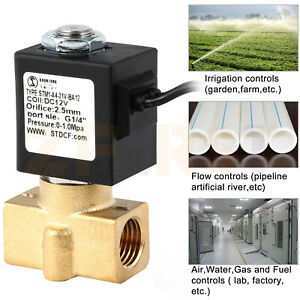 12 V Dc 1 4 inch Brass Mini Electric Solenoid Valve Flow Normally Closed Durable