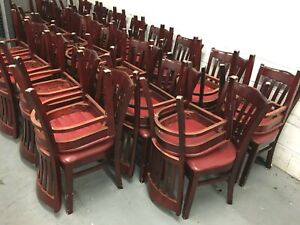 Chairs Solid Bolted Wood Frame Brown Dining Restaurant 110 Units