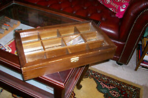 Vintage Wood And Glass Shadowbox Divider Counter Display Case