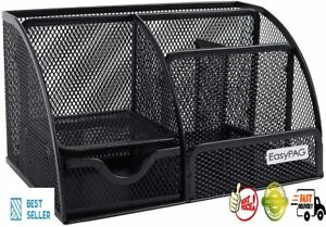 Easypag Mesh Desk Organizer Office Supplies Caddy 6 Compartments With Black