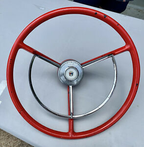 Oem Ford 1957 Fairlane Steering Wheel Red Factory Original And Horn Ring