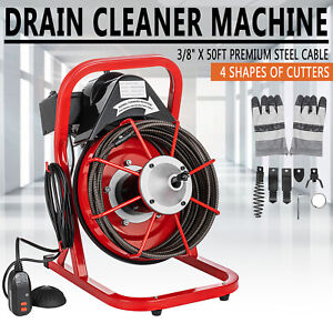 Commercial 3 8 Electric Drain Auger Cleaner Machine 50ft Sewer Snake W Cutter