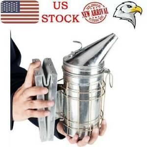 Bee Hive Smoker With Heat Shield Beekeeping Equipment Galvanized Silver Protect