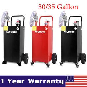 30 35 Gallon Gas Caddy Fuel Diesel Transfer Tank Container W Rotary Pump Wheels