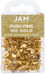 Jam Paper Colorful Push Pins Gold Pushpins 100 pack