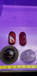 As Is Lot Antique Vintage Assortment Car Truck Rare Red Glass Tail Light Lense
